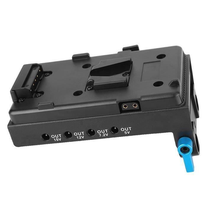 Adaptateur de plaque de batterie à montage en V avec pince à tige à double trou pour moniteur de caméra (batterie E6)