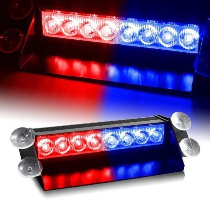 Rouge Bleu 8 LED voiture d'urgence Dashboard Dash Flash Stroboscope Strobe