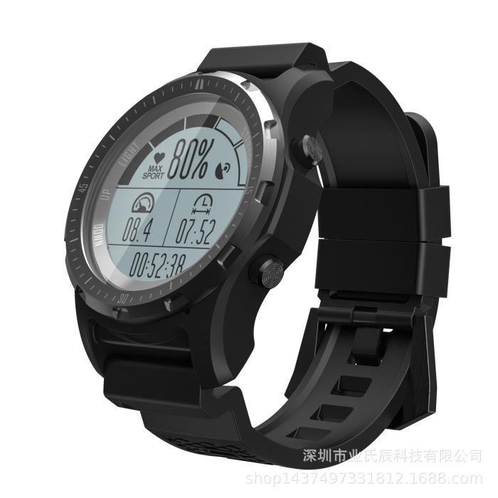 Black Appareil portable S966 GPS montre intelligente étanche fréquence cardiaque altimètre température boussole multi-sport hommes S
