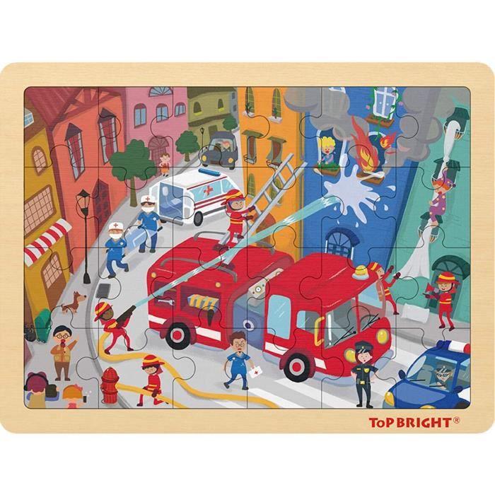 24 Pièces Puzzles pour Enfant de 3-5 Ans, Jigsaw Puzzle Pompier en Bois avec Cadre pour Garçon et Fille de 4 Ans