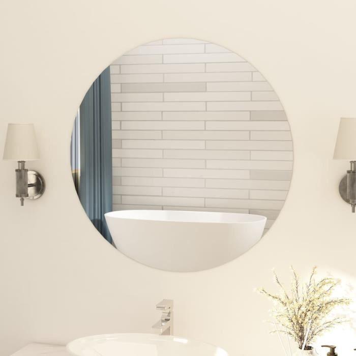 Solde - Mobilier FR13386M Miroir rond sans cadre Haut de gamme, Miroir de Salle de bain 80 cm Verre