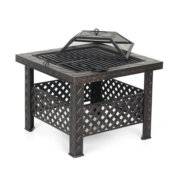 iKayaa Jardin Terrasses BBQ Ménager Barbecue 68 * 45 * 13cm avec couvercle Firepan et barbecue + barbecue - noir