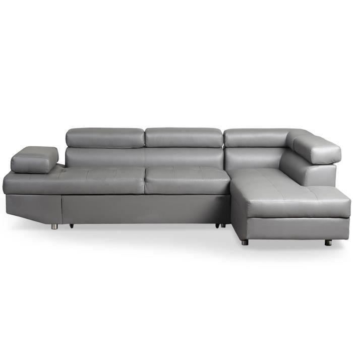 Canapé d'angle convertible Lido Gris - Angle droit