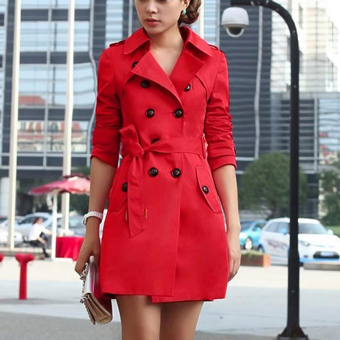 Femme slim trench-coat double boutonné long trench-coat veste manteau manteau
