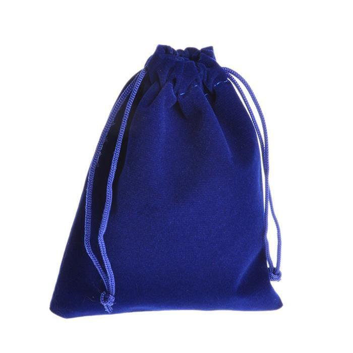 50 pcs 9x12cm Pochette à Bijoux Sac Cadeau Bonbons à Velours Finette Bleu