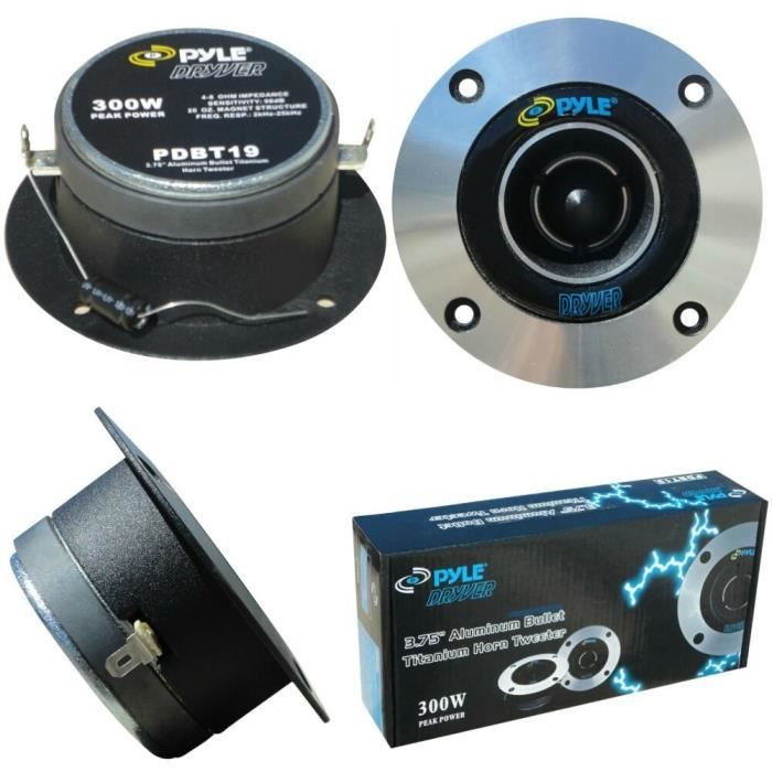 2 PYLE PDBT19 super tweeter 300 watts rms 600 watts max 4- 10,00 cm diamètre 98 db sensibilité profondeur de 3,90 cm, la paire