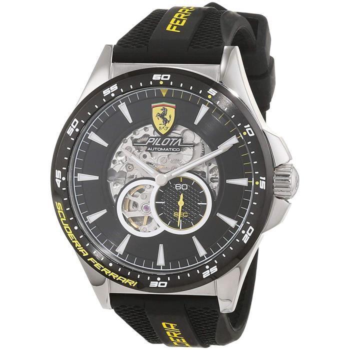 Scuderia Ferrari Hommes Squelette Automatique Montres bracelet avec bracelet en Silicone - 830601 4830