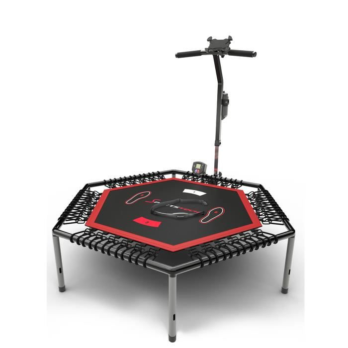 Sportstech HTX100 Trampoline de Fitness Intelligent, connecté avec Appli + Compteur de sauts & Ceinture Cardio, 133 cm, Pliable.