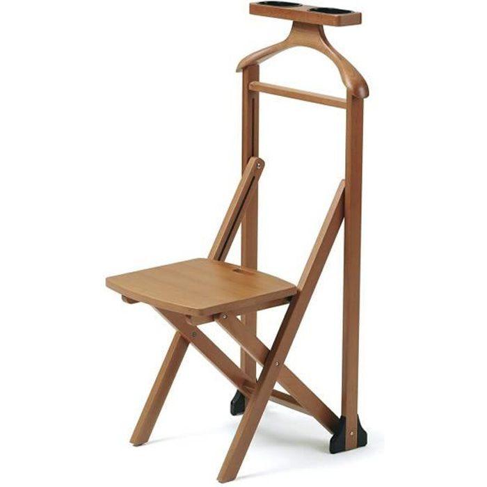 Arredamenti Italia Valet de nuit DUKA, bois - Avec chaise - Pliable -  Coleur: Bois Merisier - \