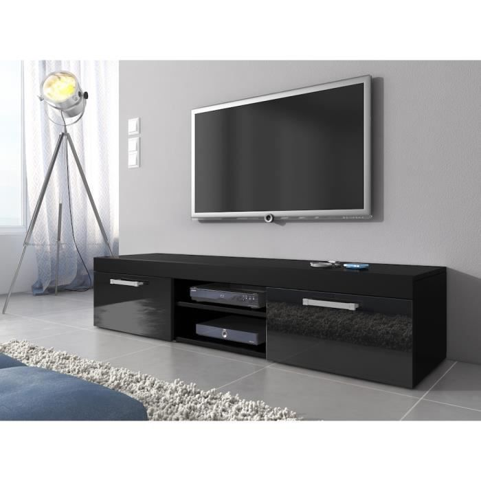 mambo meuble tv contemporain d cor noir 160 cm achat vente meuble tv mambo meuble tv. Black Bedroom Furniture Sets. Home Design Ideas
