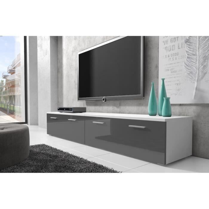 boston meuble tv contemporain d cor blanc et gris 200 cm achat vente meuble tv boston. Black Bedroom Furniture Sets. Home Design Ideas