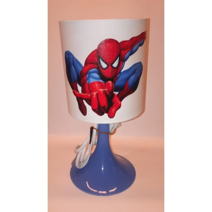lampe de chevet spiderman blanc et bleu achat vente. Black Bedroom Furniture Sets. Home Design Ideas