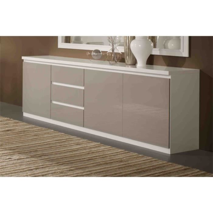 bahut roma bicolore blanc gris laque 3 portes 3 tiroirs achat vente buffet bahut bahut. Black Bedroom Furniture Sets. Home Design Ideas