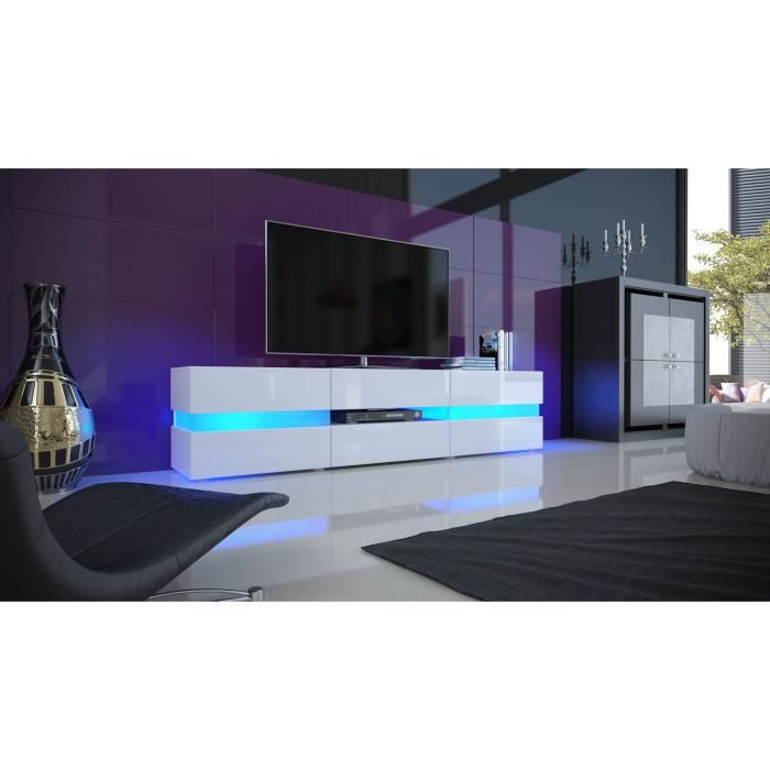 meuble tv blanc laqu avec led 139 cm achat vente. Black Bedroom Furniture Sets. Home Design Ideas