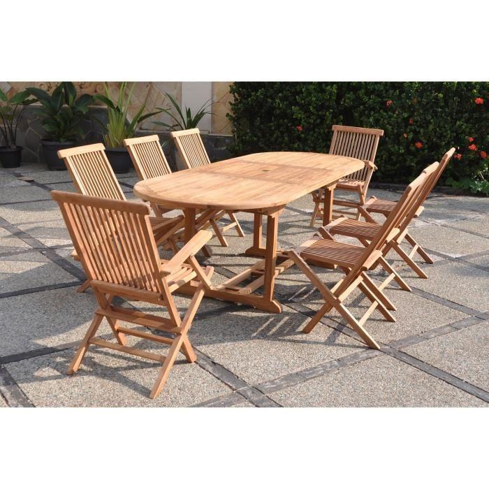 Table en teck et 6 chaises