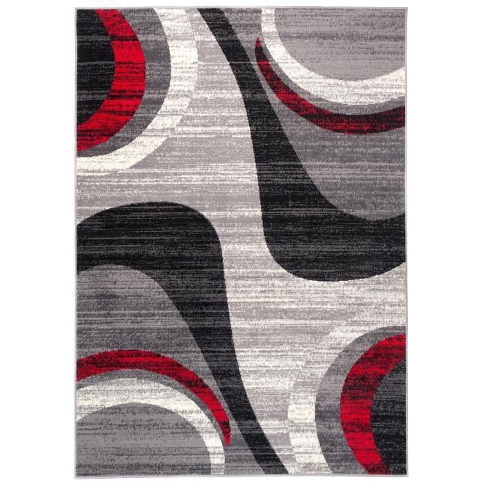 TAPISO Dream Tapis de Salon Chambre Ado Design Moderne Gris Fin Rouge Noir  Crème Vagues Doux Poil Court 250 x 300 cm