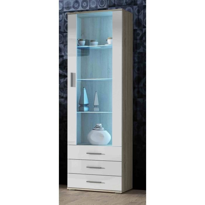 meuble vitrine design sano bois blanc achat vente vitrine argentier meuble vitrine design. Black Bedroom Furniture Sets. Home Design Ideas