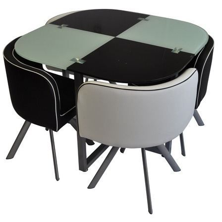 Louss noire et blanche achat vente table manger for Table avec chaise encastrable conforama
