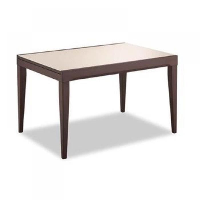 Fly wenge et verre beige capuccino 90 150 cm achat for Table a manger fly
