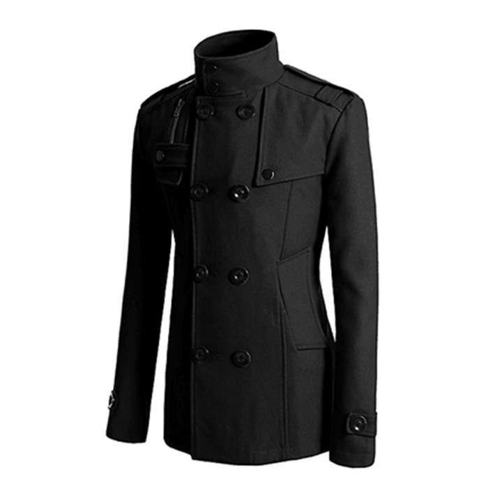 Manteau mi long laine noir