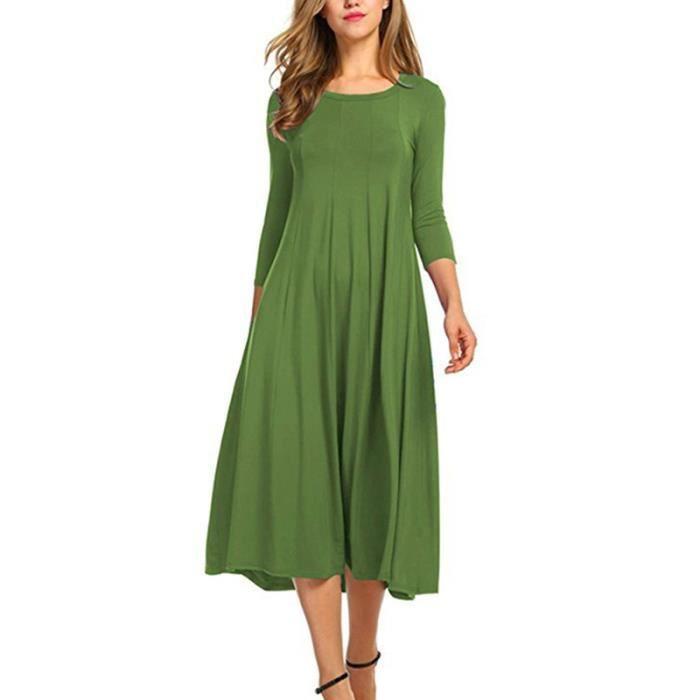 Robe Femme Vert Olive Couleur Unie Loisirs Lache Robe Longue Manches Longues Automne Hiver Vert Achat Vente Robe Cdiscount