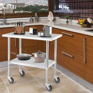 PLAN DE TRAVAIL Table de Travail Cuisine Inox à Roulettes 2 Couche