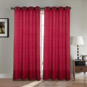 RIDEAU Paire double rideaux 140x260 cm Rouge - Effet lin