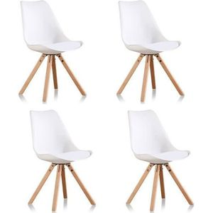 Chaise scandinave blanche achat vente chaise - Lot 4 chaises blanches ...