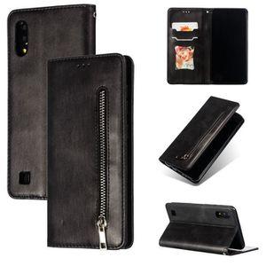 HOUSSE - ÉTUI Coque Samsung Galaxy A10 Noir en PU Cuir avec prot