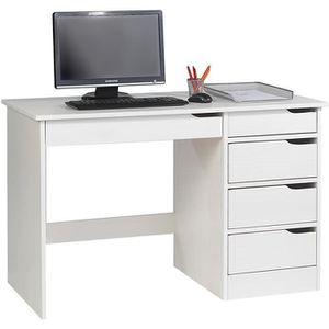 BUREAU  Bureau HUGO avec rangement 5 tiroirs style scandin