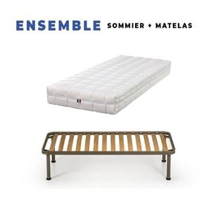 MATELAS Matelas + Sommier Démonté 200x200 + Pieds + Protèg