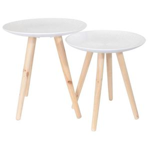 TABLE GIGOGNE Lot de 2 tables gigogne plateau rond en bois
