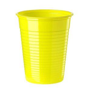 VERRE JETABLE Paquet de 50 gobelets plastique 20cl jaune