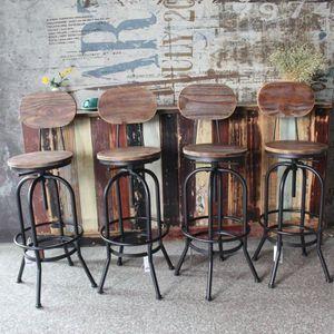 TABOURET DE BAR IKayaa 4Pcs Tabouret de Bar Style Industriel Haute