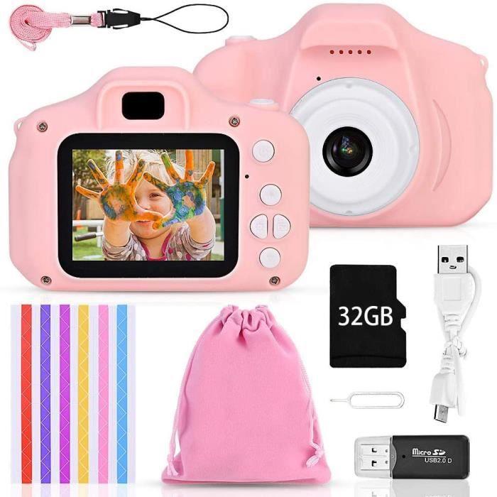 Appareil Photo Enfant Mini Numérique Caméra pour Enfant, 12 Mpixels, 32G TF Carte, 510 Coins Photo pour Garçons Filles (Rose)