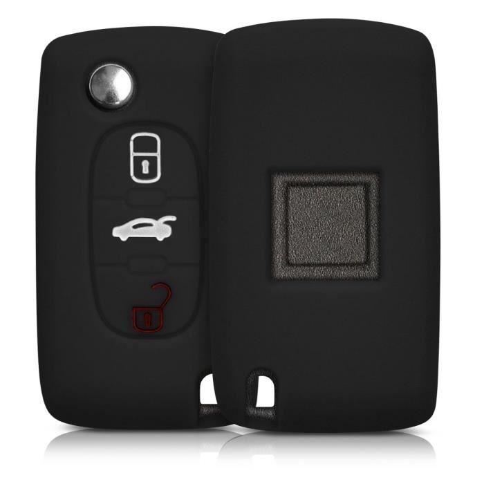 kwmobile Accessoire clé de Voiture pour Peugeot Citroen - Coque pour Clef de Voiture Peugeot Citroen 3-Bouton en Silicone Noir