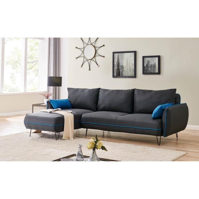 Canapé d'angle convertible en tissu gris et bleu DAMON angle réversible