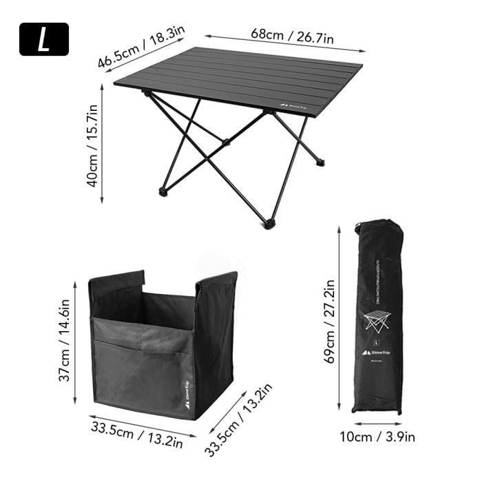L With Table -Sac de rangement Portable pliable pour Camping en plein air, filet de rangement Oxford, sac de pique nique grande capa