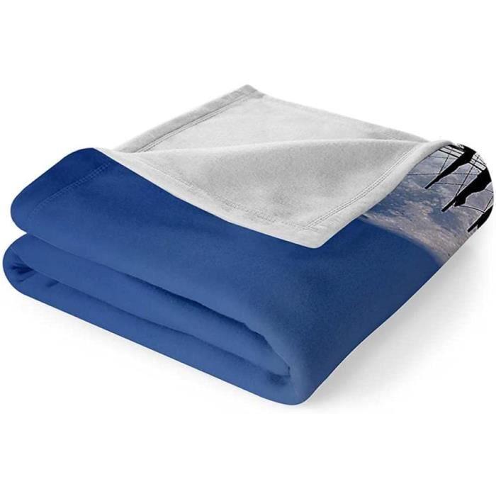 Plaid Couverture Polaire 130x150 cm Flanelle Blanket pour Canape Drap Pled Doux, Couverture Lit 1 Personne Voilier de la Lune p-920
