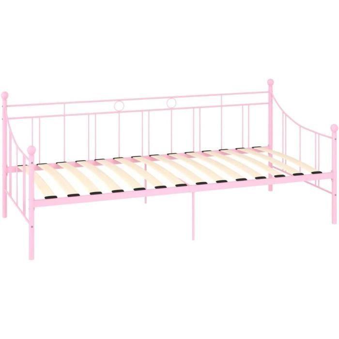 cadre de lit en métal structure lit banquette, lit de repos, 208 x 95 x 83 cm, rose (matelas non inclus)