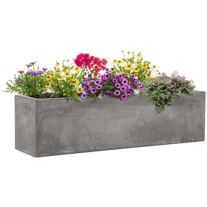 Blumfeldt Solidflor - Bac à plantes, 75 x 20 x 20 cm, Fibre de verre, gris clair108