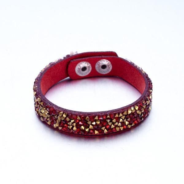 Bracelet Cristaux Rouges et Dorés de Swarovski Elements et Cuir Rouge