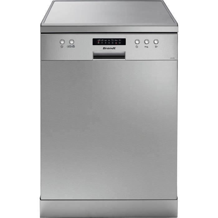 Lave-vaisselle pose libre BRANDT LVC137S - 13 couverts - Largeur 60 cm - Classe A++ - 47 dB - Argent