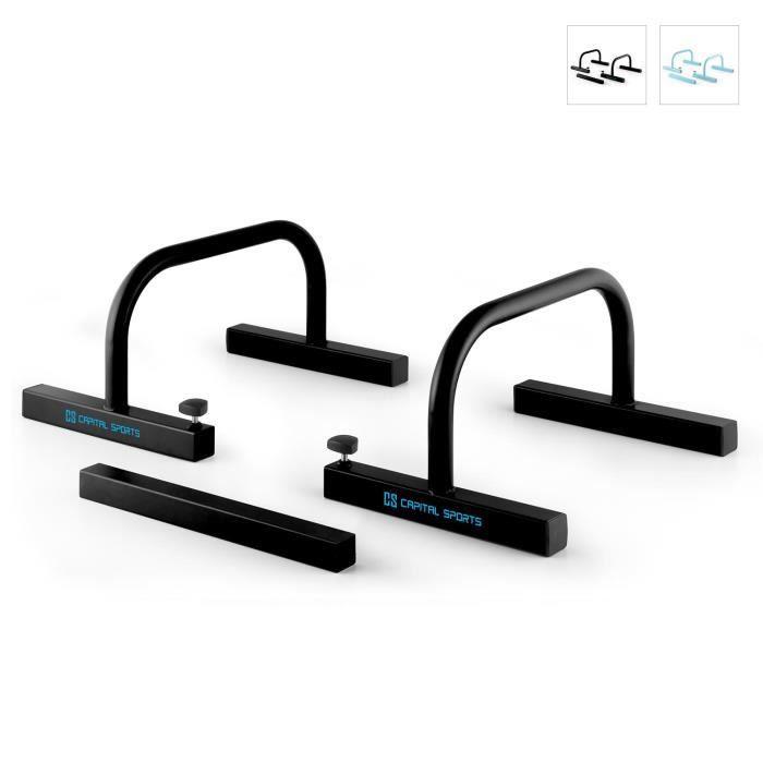 Capital Sports Paralo - barres parallèles stables pour pompes ou lever de jambes - acier noir