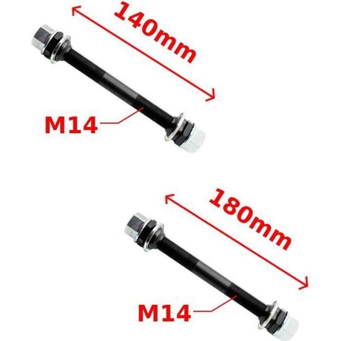 AXE ROUE AVANT + ARRIERE BMX DIAMETRE 14MM x LONGUEUR 140MM (AV) + 180MM (AR) COMPLET MOYEU ROUE VELO