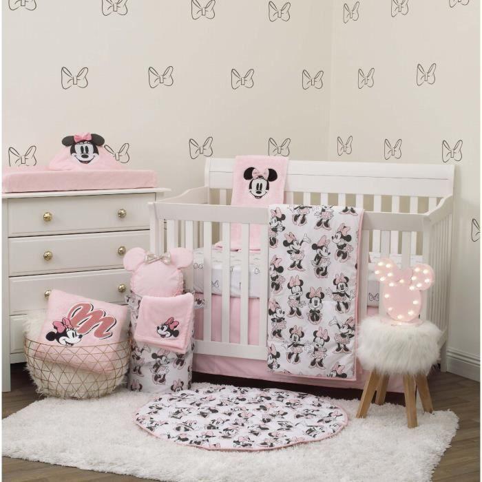 Drap Plat Lit Bebe DISNEY Minnie Mouse 6 Piece Nursery Crib Bedding Set, Comforter, Two 100% Cotton Fitted Crib Sheets, Dust WT0LD