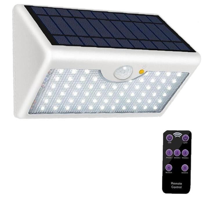 Applique avec lumière 60 LED d'extérieur solaire sans fil Super Bright sécurité Capteur de télécommande