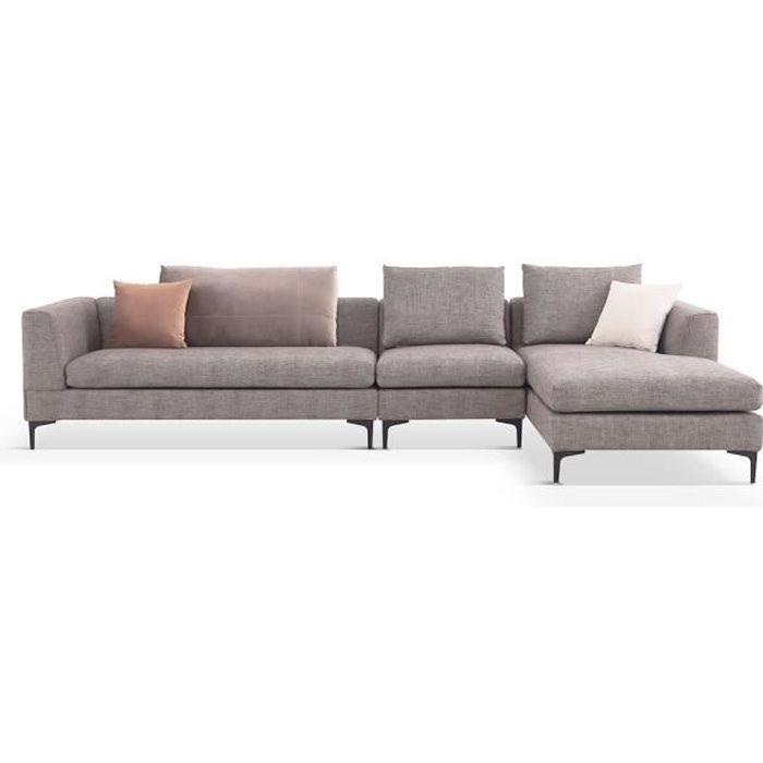 Canapé d'angle XL en tissu JULY - Droit - Beige Droit - issu