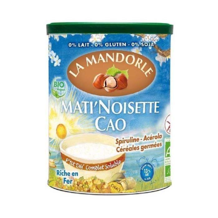 La Mandorle - Mati noisette cao, céréales germées, spiruline, acérola 400gr