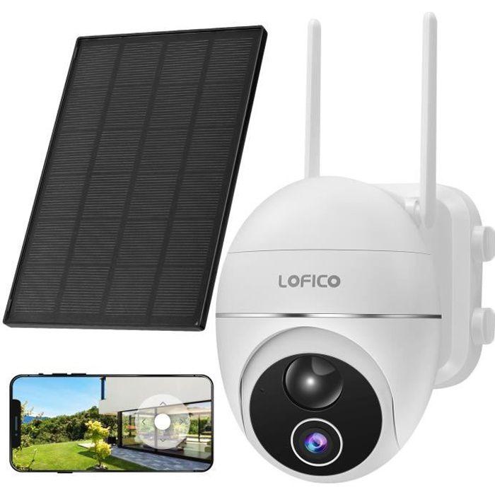 LOFICO® Caméra IP Solaire 1080P Caméra de Surveillance Wifi Extérieure avec Panneau Solaire, Batterie Rechargeable 15000mAh - Blanc